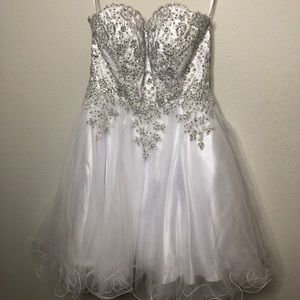 White and Silver Homecoming Dress